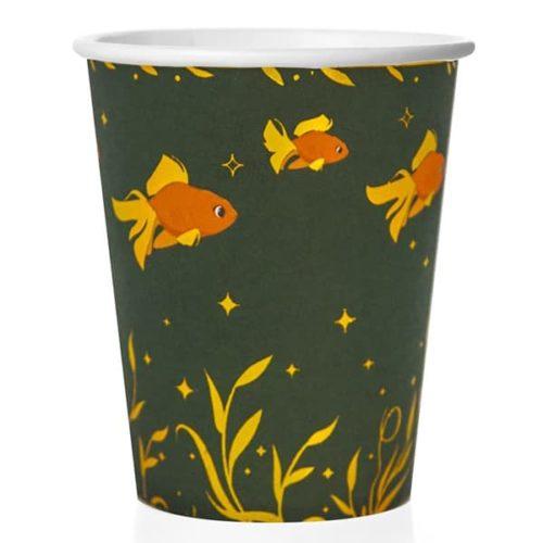 Стаканы 250 мл Золотые рыбки Темно-зеленый 6 штук