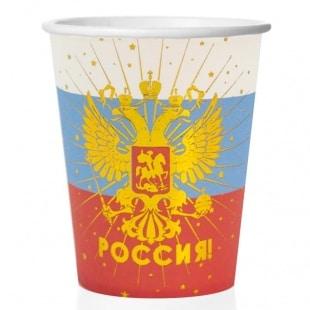 Стаканы 250 мл Россия герб Золото Триколор 6 штук