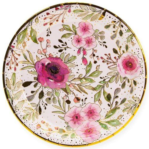 Тарелки 18 см Акварельные цветы Белый Золото 6 штук