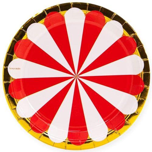 Тарелки 18 см Золотая кайма Красный Белый 6 штук