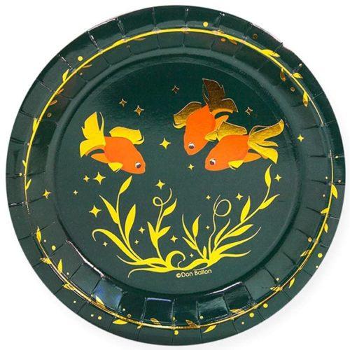 Тарелки 18 см Золотые рыбки Темно-зеленый 6 штук
