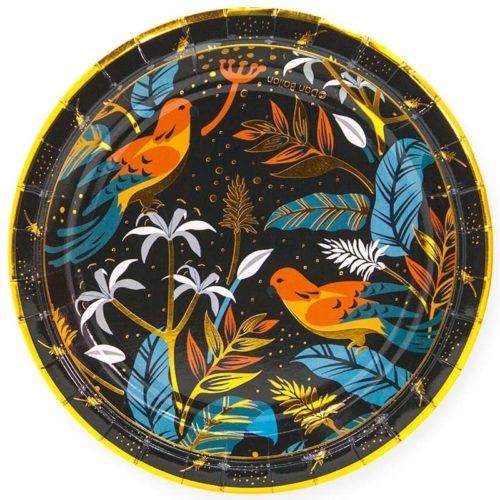 Тарелки 18 см Райские птицы Золото Черный 6 штук