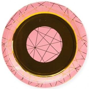Тарелки 18 см С Днем Рождения геометрия линий Ассорти 6 штук