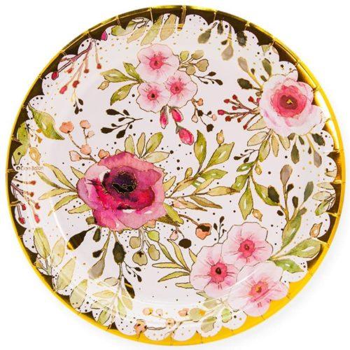 Тарелки 23 см Акварельные цветы Белый Золото 6 штук