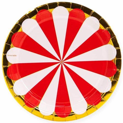 Тарелки 23 см Золотая кайма Красный Белый 6 штук