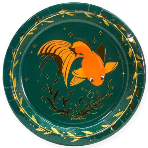 Тарелки 23 см Золотые рыбки Темно-зеленый 6 штук