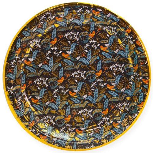 Тарелки 23 см Райские птицы Золото Черный 6 штук