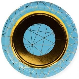 Тарелки 23 см С Днем Рождения геометрия линий Ассорти 6 штук