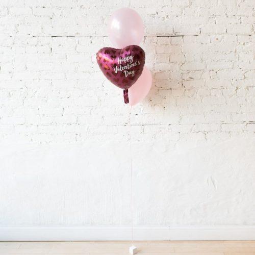 Фонтан из 3 шаров розовые тона и сердце с рисунком