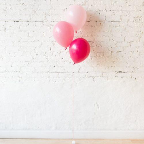 Фонтан из 3 шаров розовые тона