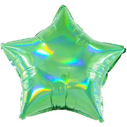 Шар 46 см Звезда Перламутровый блеск Зеленый Голография