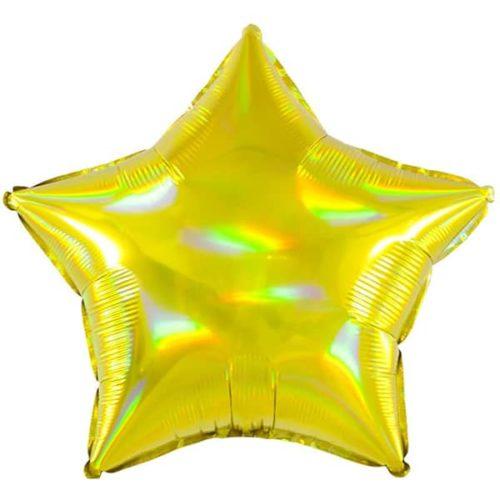 Шар 46 см Звезда Перламутровый блеск Золото Голография