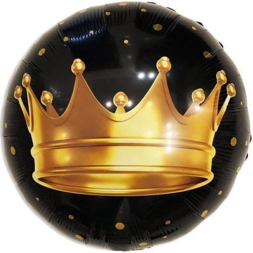 Шар 46 см Круг Золотая корона Черный