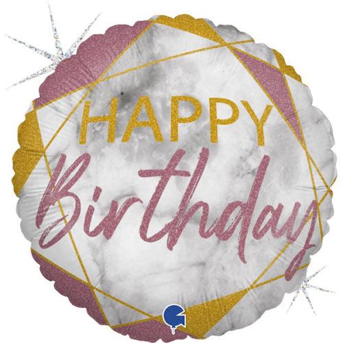 Шар 46 см Круг С Днем Рождения Мрамор Калакатта Розовое Золото Голография
