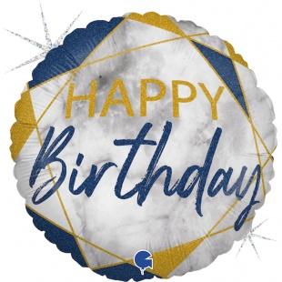 Шар 46 см Круг С Днем Рождения Мрамор Калакатта Синий Голография