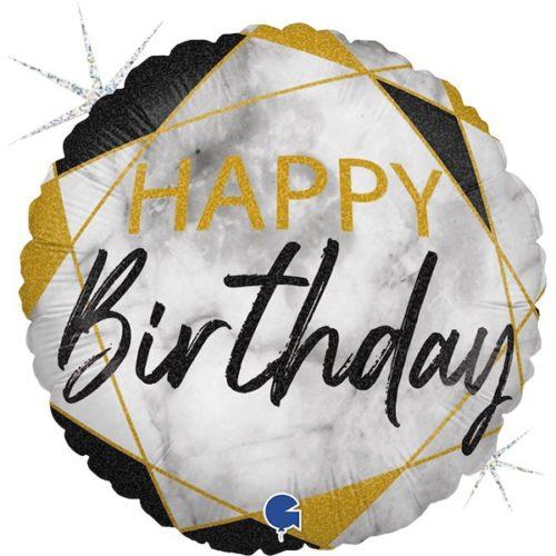 Шар 46 см Круг С Днем Рождения Мрамор Калакатта Черный Голография