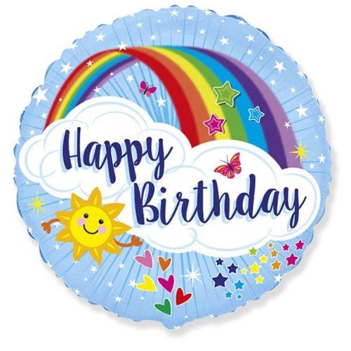 Шар 46 см Круг С Днем Рождения яркая радуга Голубой
