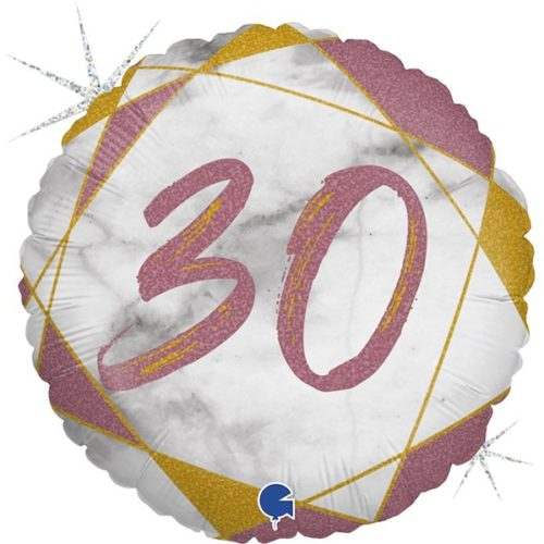 Шар 46 см Круг Цифра 30 Мрамор Калакатта Розовое Золото Голография