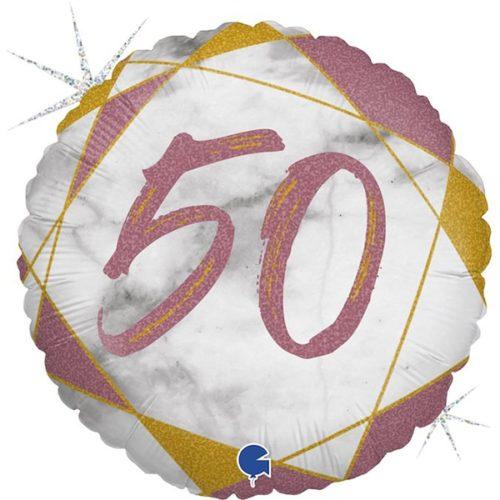 Шар 46 см Круг Цифра 50 Мрамор Калакатта Розовое Золото Голография