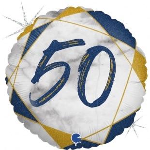 Шар 46 см Круг Цифра 50 Мрамор Калакатта Синий Голография
