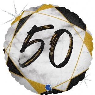 Шар 46 см Круг Цифра 50 Мрамор Калакатта Черный Голография