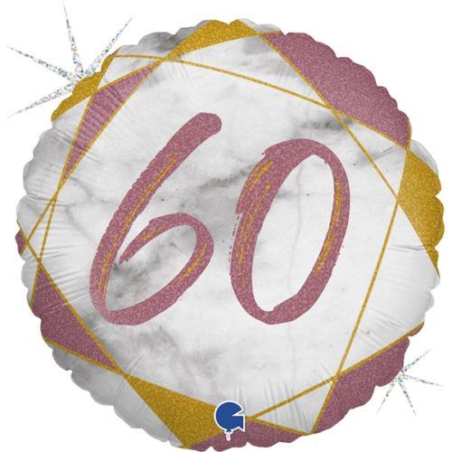 Шар 46 см Круг Цифра 60 Мрамор Калакатта Розовое Золото Голография