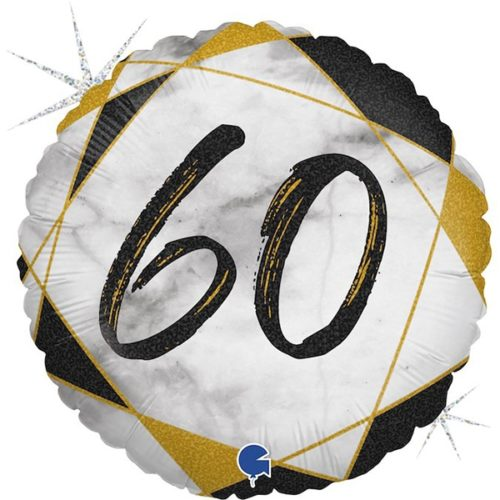 Шар 46 см Круг Цифра 60 Мрамор Калакатта Черный Голография