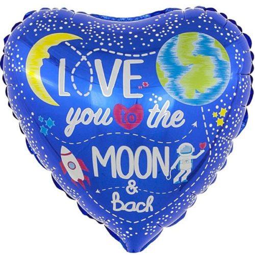 Шар 46 см Сердце Лунная любовь Синий