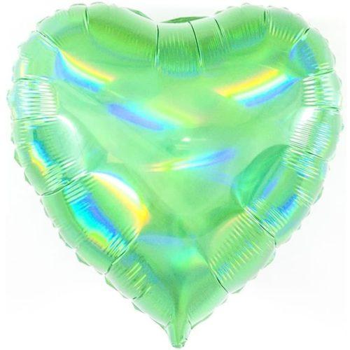 Шар 46 см Сердце Перламутровый блеск Зеленый Голография