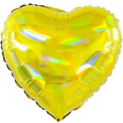 Шар 46 см Сердце Перламутровый блеск Золото Голография