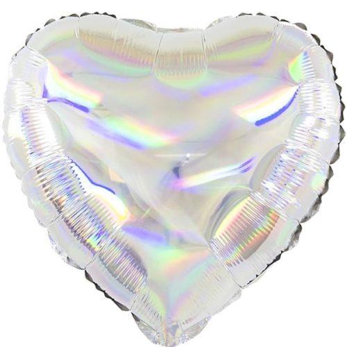 Шар 46 см Сердце Перламутровый блеск Серебро Голография