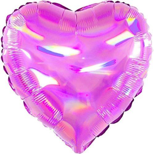 Шар 46 см Сердце Перламутровый блеск Фуше Голография
