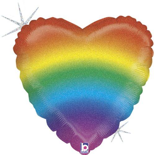 Шар 46 см Сердце Радужный Голография