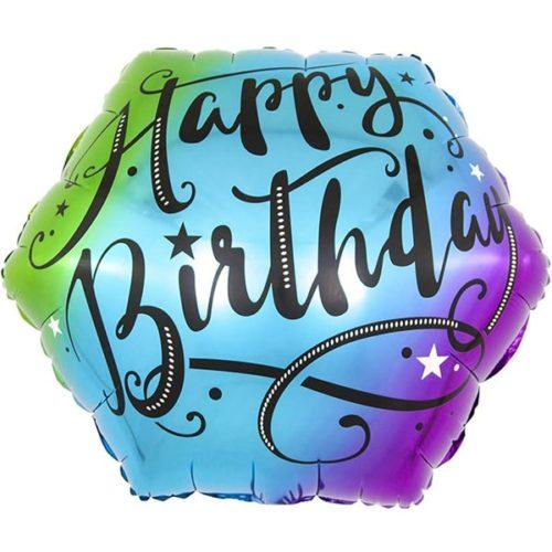 Шар 46 см Фигура С Днем Рождения изящный шрифт Разноцветный Градиент