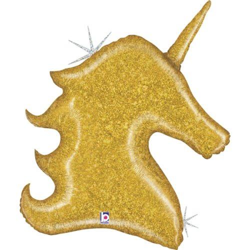 Шар 97 см Фигура Голова Звездный Единорог Золото Голография