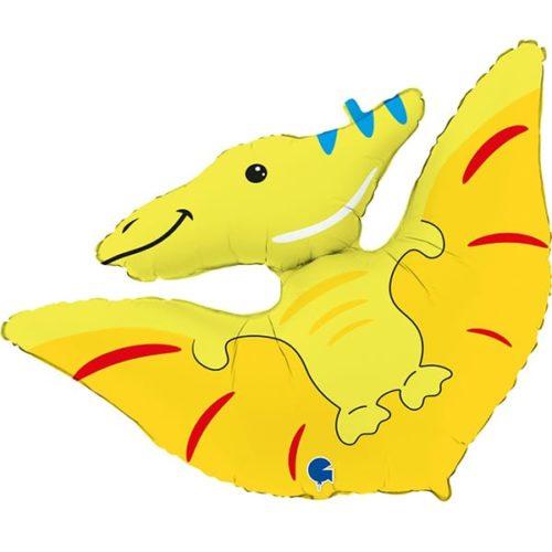 Шар 97 см Фигура Динозавр Птеродактиль Желтый