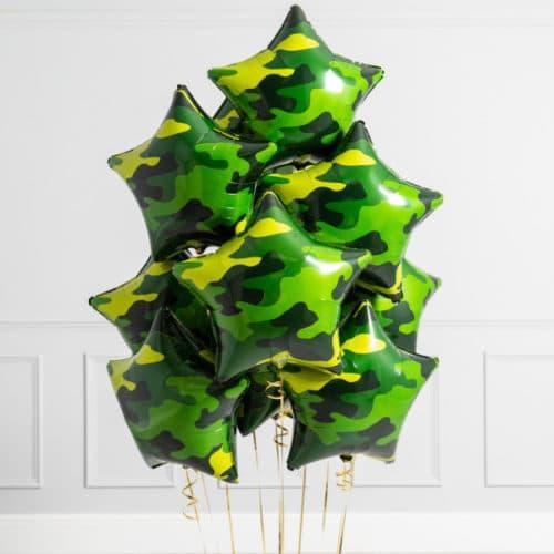 Связка из 10 воздушных шаров Звезды Милитари