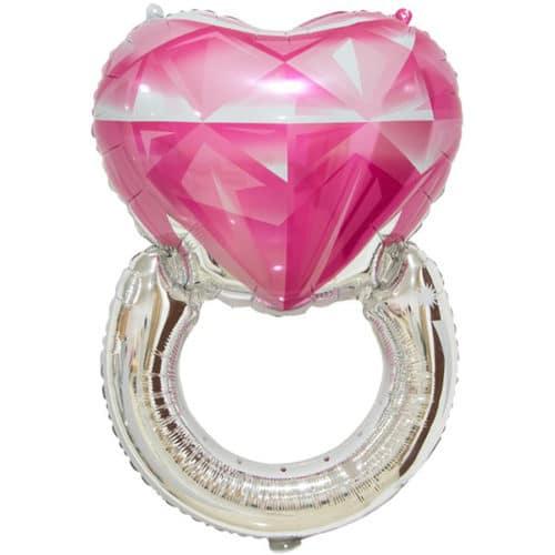 Шар 81 см Фигура Сердце Кольцо с бриллиантом Розовый