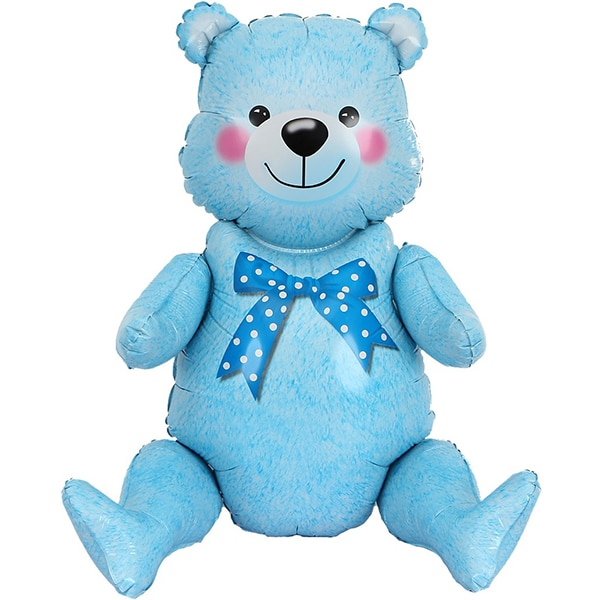 Шар 81 см Фигура Сидячий мишка Голубой