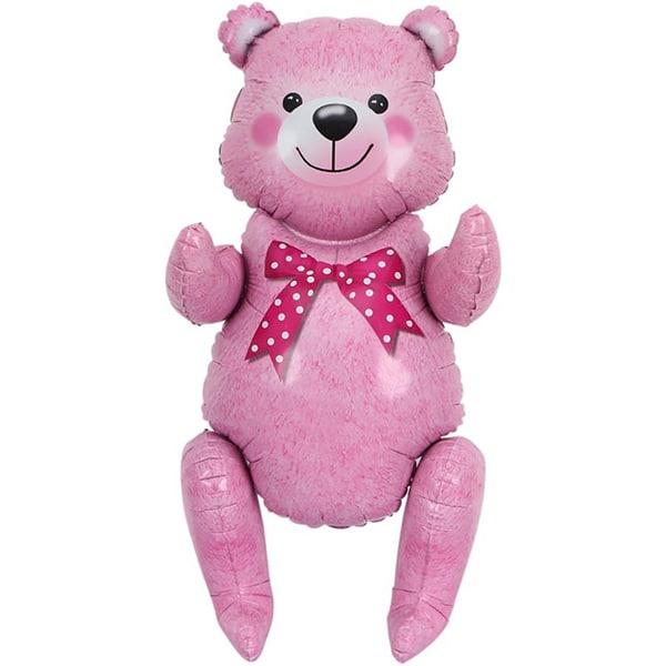 Шар 81 см Фигура Сидячий мишка Розовый