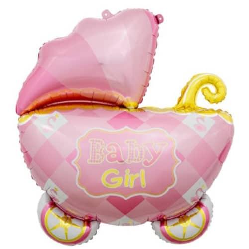 Шар 89 см Фигура Коляска для девочки Розовый