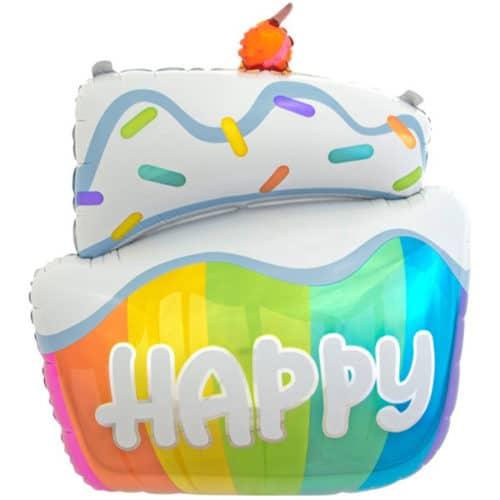 Шар 89 см Фигура Радужный тортик на Счастье