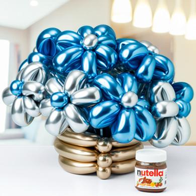 Букет ромашек из шаров Хром Голубые