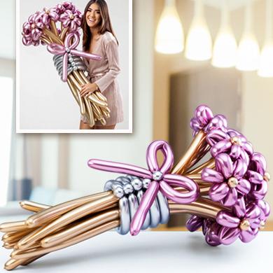 Букет ромашек из шаров Хром Розовые