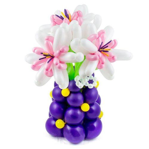 Ваза с 3 цветами из воздушных шаров Бело - розовый