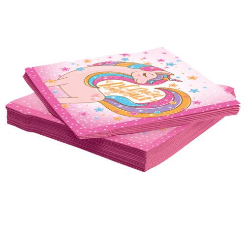 Салфетки 33 х 33 см Волшебный единорог Розовый 20 штук