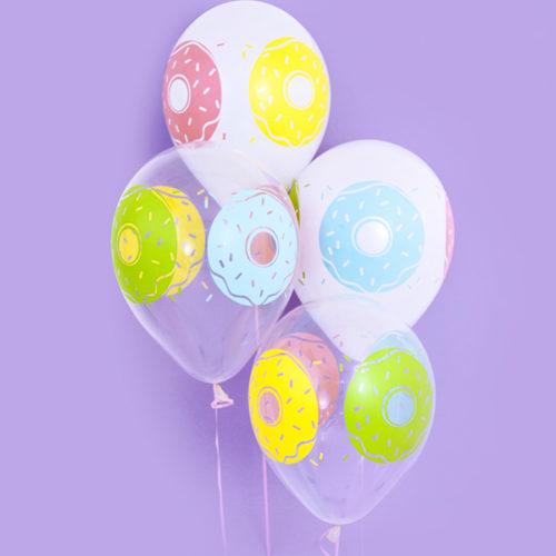 Связка из 4 шаров Пончики Белый Прозрачный