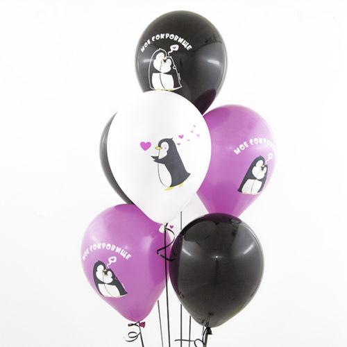 Связка из 5 шаров Влюбленные пингвины Ассорти