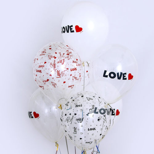 Связка из 6 шаров Любовь Белый Прозрачный Ассорти