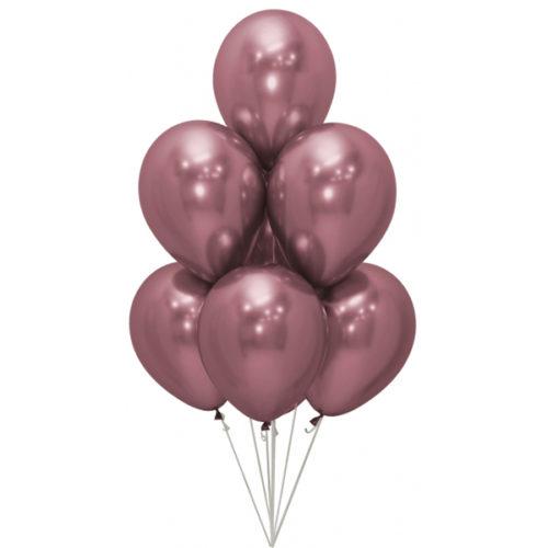 Связка из 7 шаров Розовый Хром